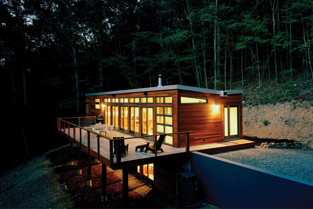 Modern Modular Prefab House | Steep Site | Butterfly Roof Cedar Siding Deck Cable Rails | RES4 | West Virginia