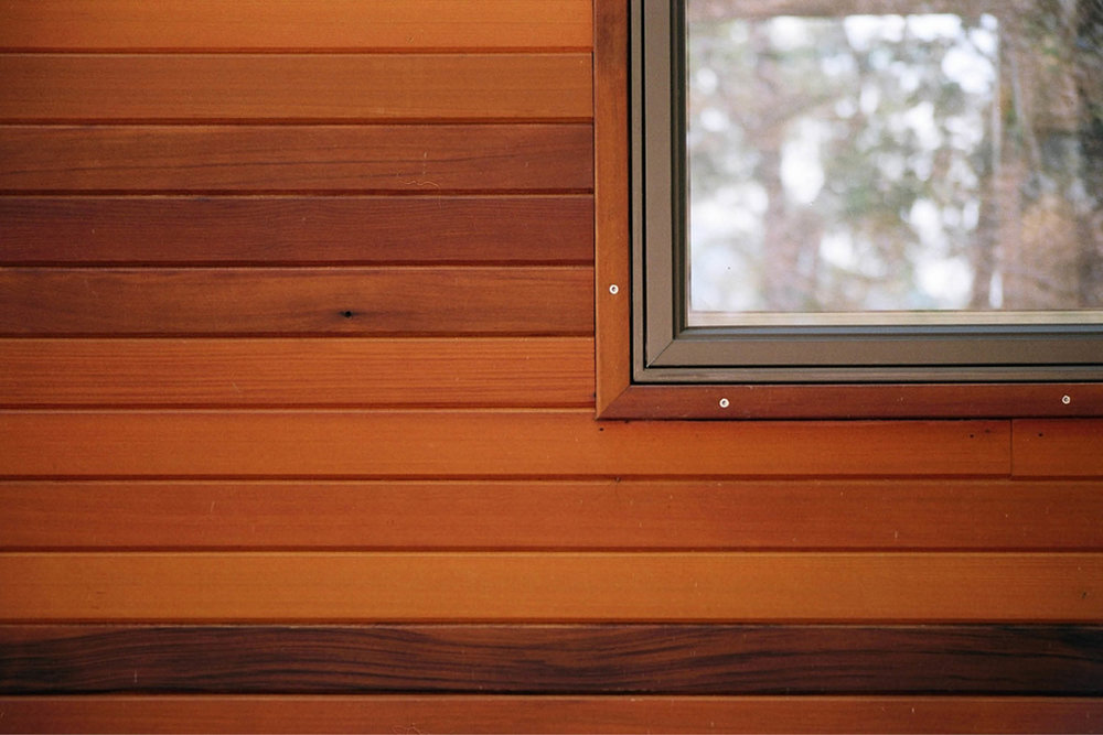 Modern Modular Prefab House | Steep Site | Cedar Siding Window Detail | RES4 | West Virginia