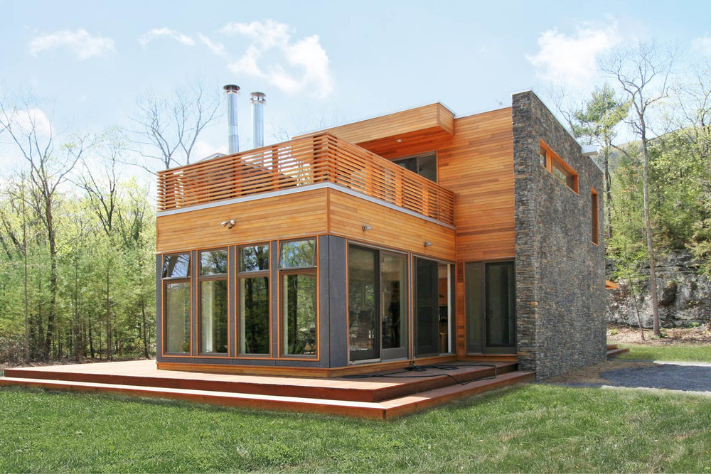 Modern Modular Prefab House | New York Stat Palenville | Cedar Siding Stone Wall Cable Rail | RES4