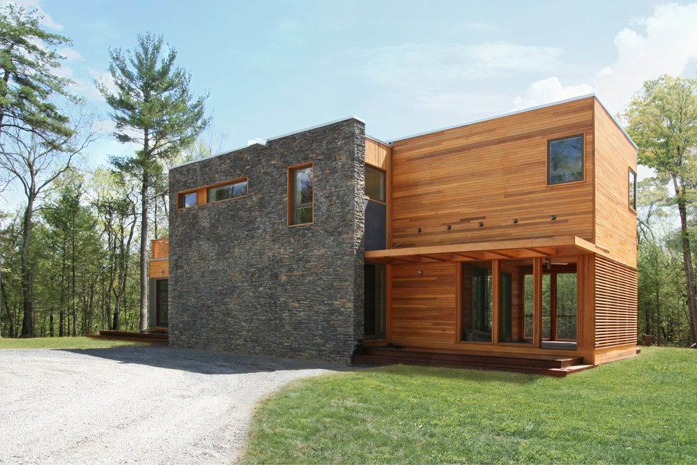 Modern Modular Prefab House | New York Stat Palenville | Cedar Siding Stone Wall | RES4