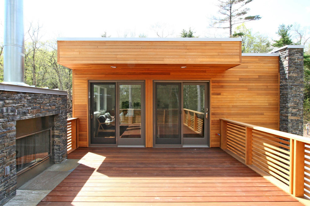 Modern Modular Prefab House | New York Stat Palenville | Cedar Siding Ipe Deck Cable Rail Prefab Fireplace | RES4