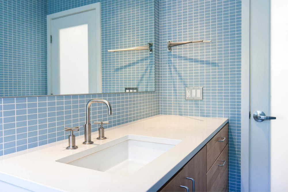 Modern Modular Prefab House | New York Stat Palenville | Custom Bathroom Blue Tile | RES4