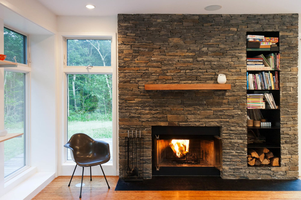 Modern Modular Prefab House | New York Stat Palenville | Living Room Fireplace Stone Wall Black Steel | RES4