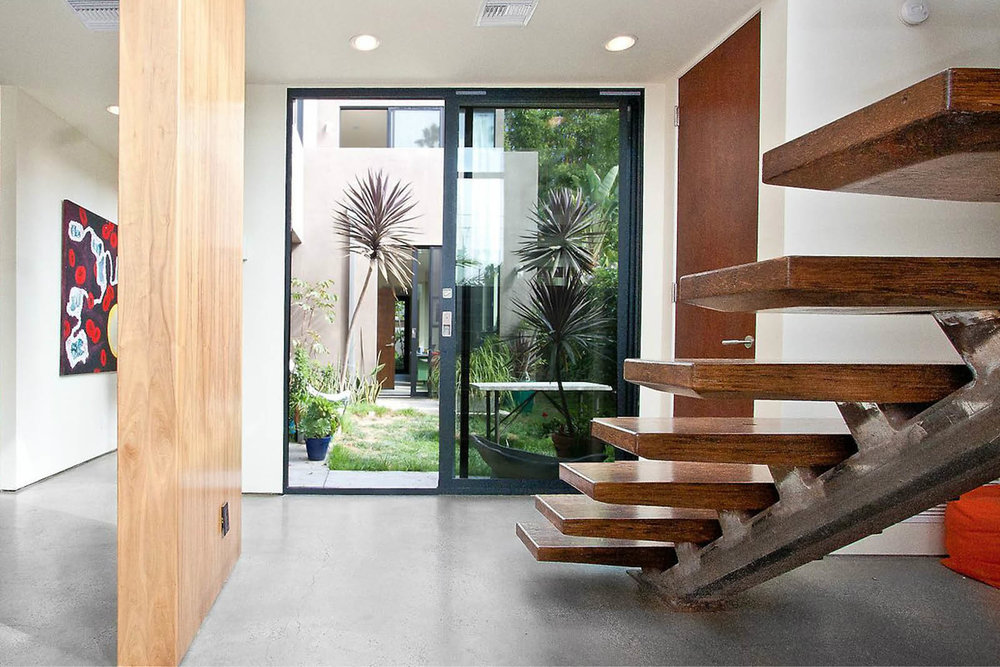 Modern Panelized Prefab Beach House | Venice California | Open Tread Stair Large Entry Door Window | RES4