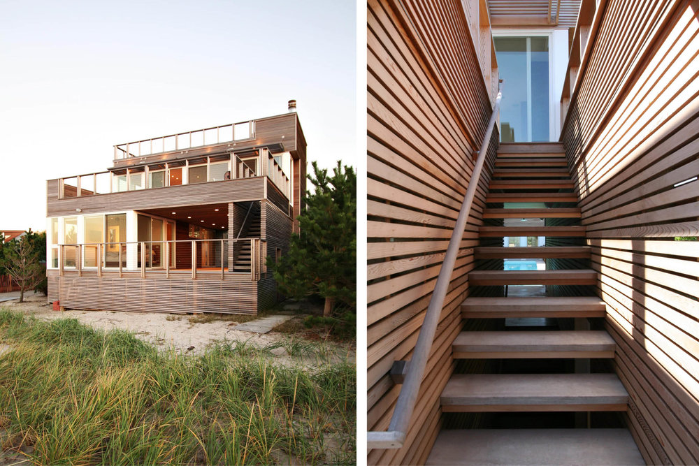 Modern Modular Prefab House | Cedar siding Beach White Windows Open Tread Stair Screen Wall | Fire Island New York | RES4