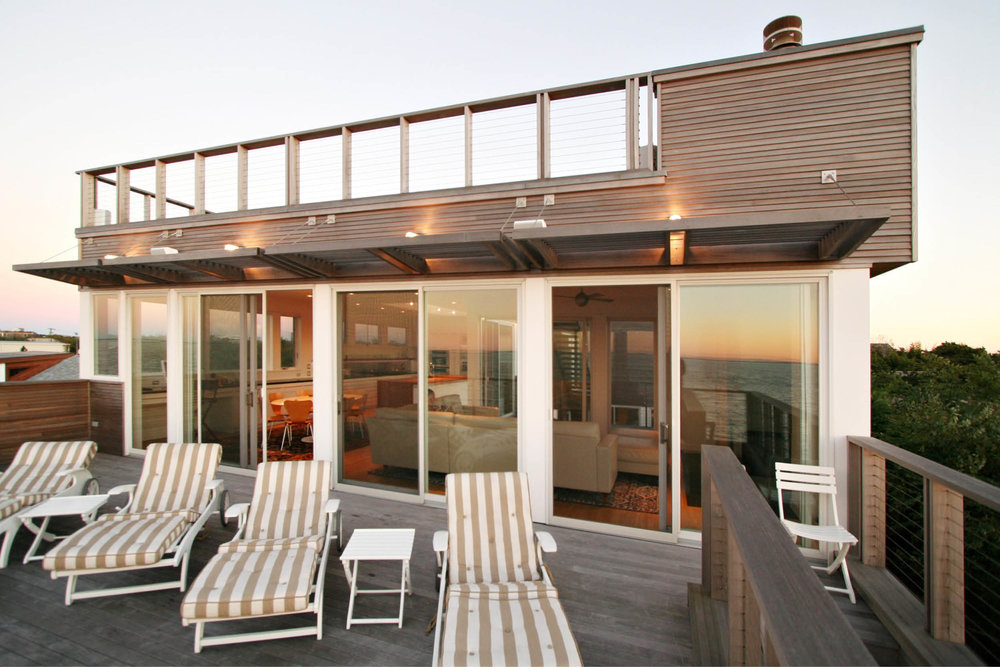 Modern Modular Prefab House | Cedar siding Beach White Windows Deck | Fire Island New York | RES4