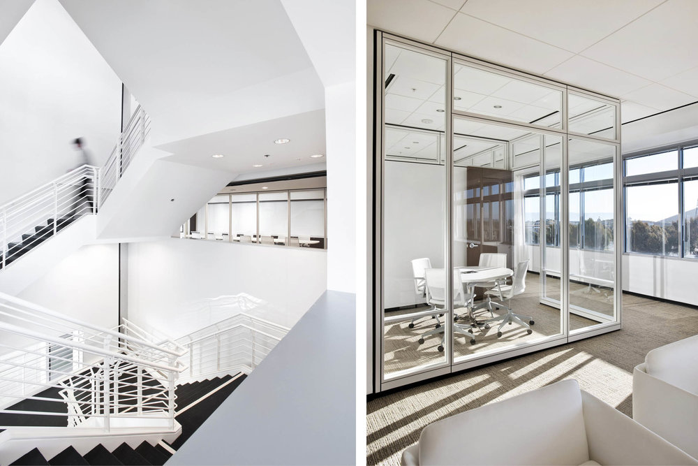Modern Commercial Office | White Black Stair Glass Partitions | RES4