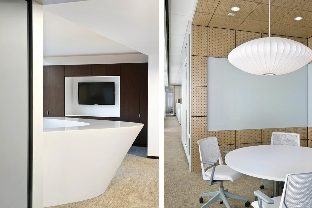 Modern Commercial Office | Custom Corian Curved White Reception Desk Custom Millwork | RES4
