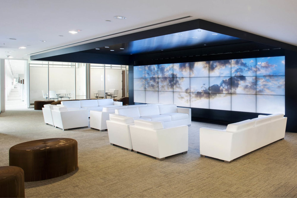 Modern Commercial Office | Reception Waiting White Furniture Media Screens | RES4