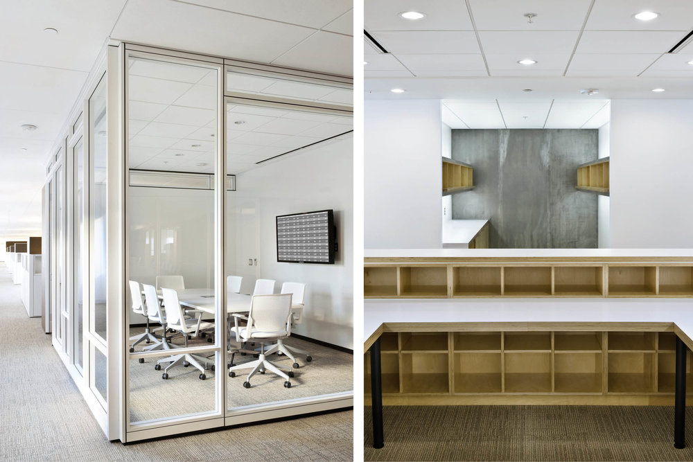 Modern Commercial Office | Glass Partitions Custom Built In Millwork | RES4