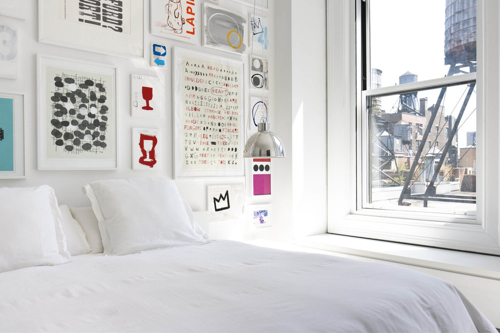 Modern New York City Union Square Loft Renovation | White Bedroom Colorful Art | RES4