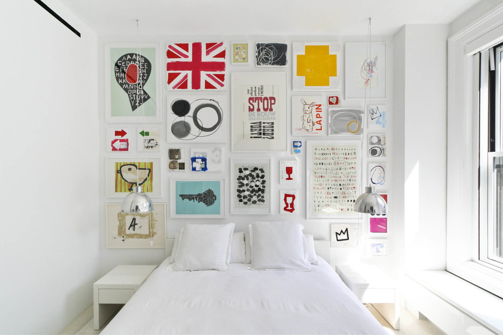 Modern New York City Union Square Loft Renovation | White Master Bedroom Bright Art | RES4