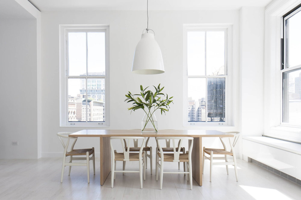 Modern New York City Union Square Loft Renovation | White Dining Room