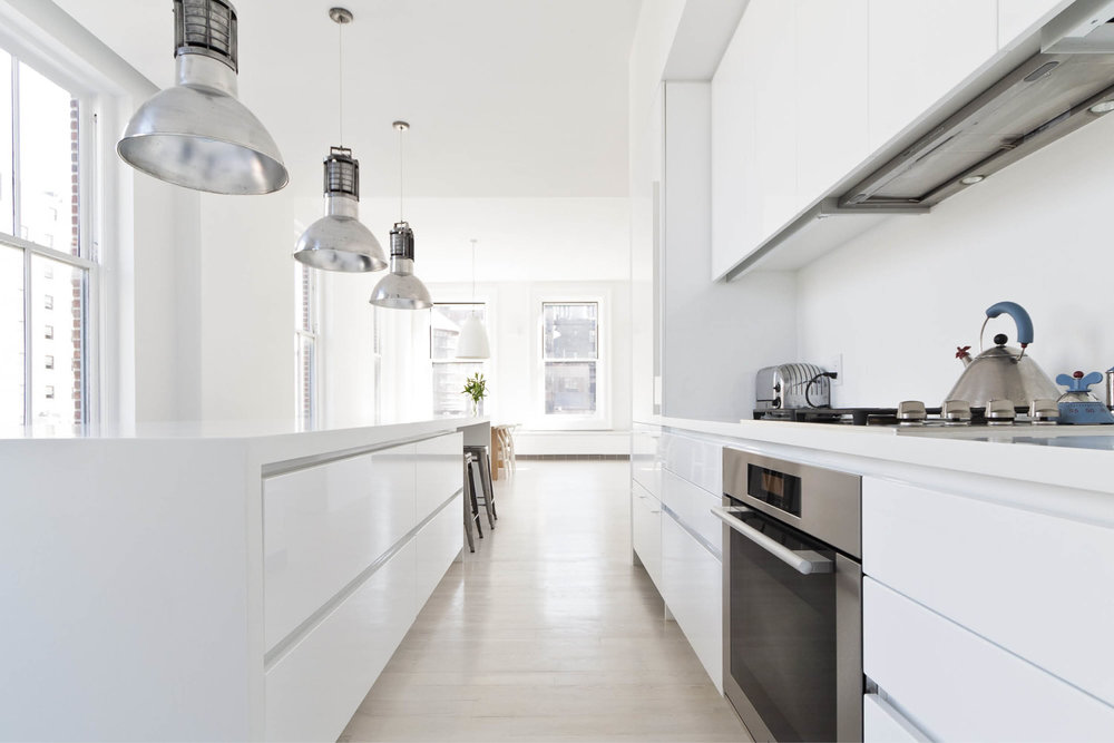 Modern New York City Union Square Loft Renovation | White Kitchen Island Custom Cabinets | RES4