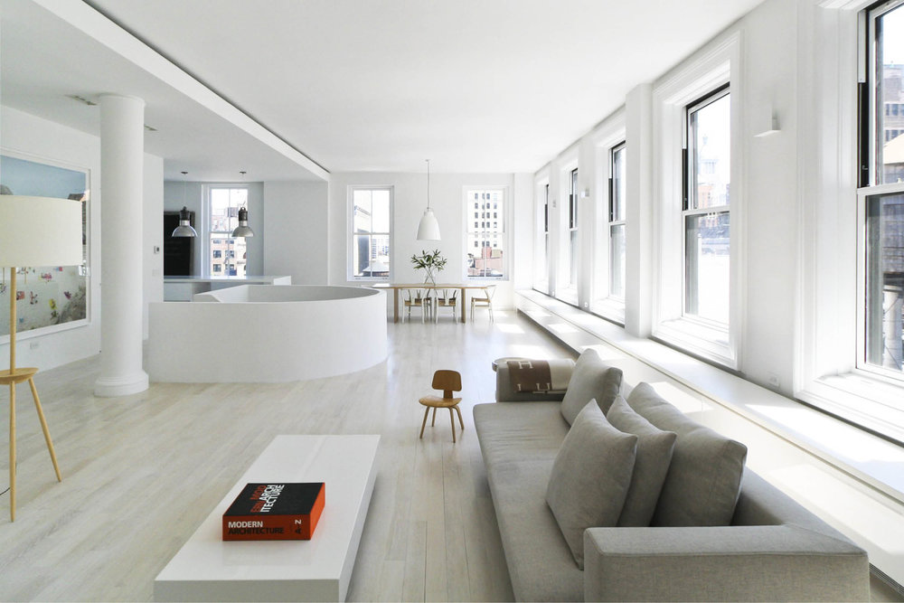 Modern New York City Union Square Loft Renovation | White Living Room | RES4
