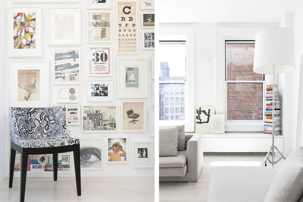 Modern New York City Union Square Loft Renovation | White Living Room Bright Art | RES4