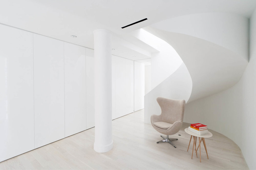 Modern New York City Union Square Loft Renovation | Built In Storage White Curved Stair | RES4
