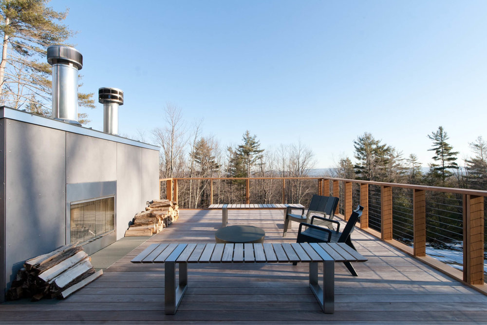Modern Modular Prefab House | New York State | Cedar Ipe Deck Fireplace Cable Rail | RES4