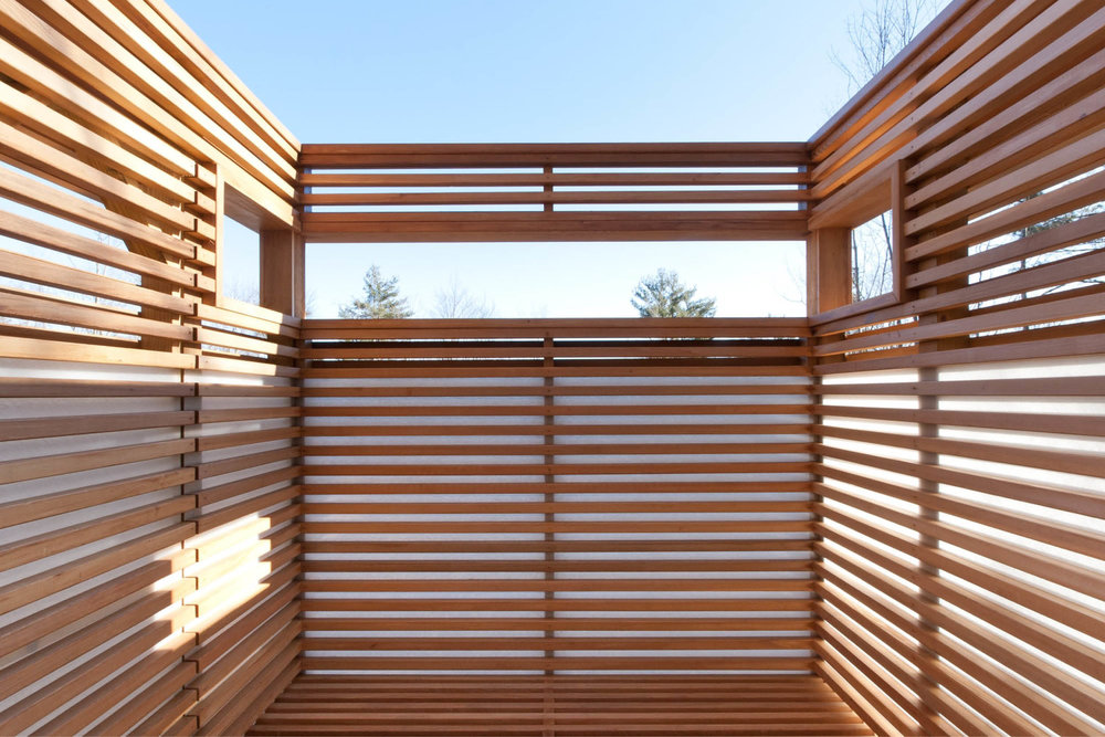 Modern Modular Prefab House | New York State | Cedar Screen Wall Outdoor Shower | RES4
