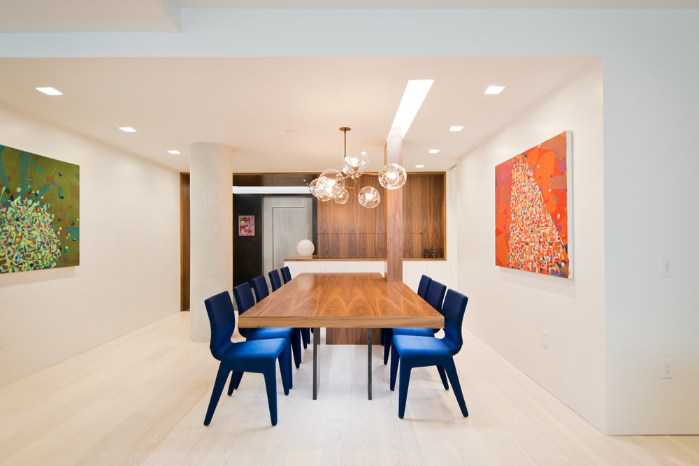 Modern New York City Lenox Hill Apartment Renovation | Custom Walnut Millwork Dining Room Table Light Cove | RES4