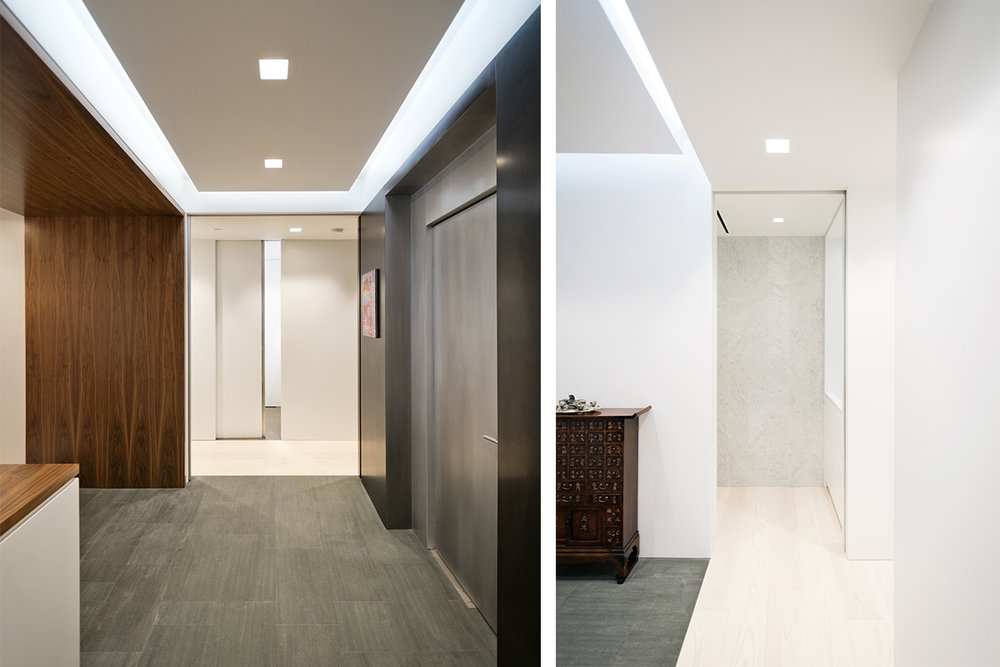Modern New York City Lenox Hill Apartment Renovation | Custom Walnut Millwork Elevator Entry Cove Light | RES4