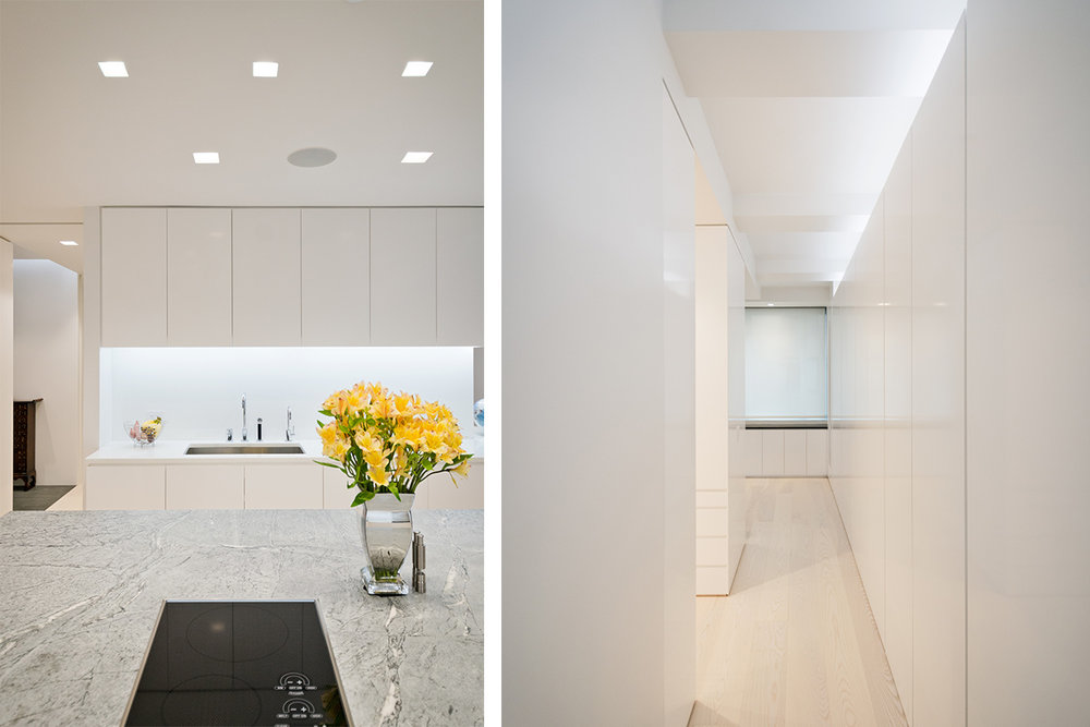 Modern New York City Lenox Hill Apartment Renovation | Built in Storage Closets White Kitchen Custom Island | RES4