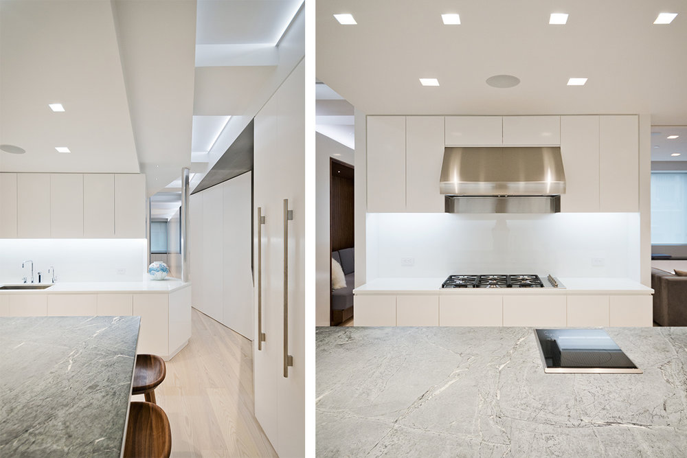 Modern New York City Lenox Hill Apartment Renovation | White Kitchen Custom Millwork Island | RES4