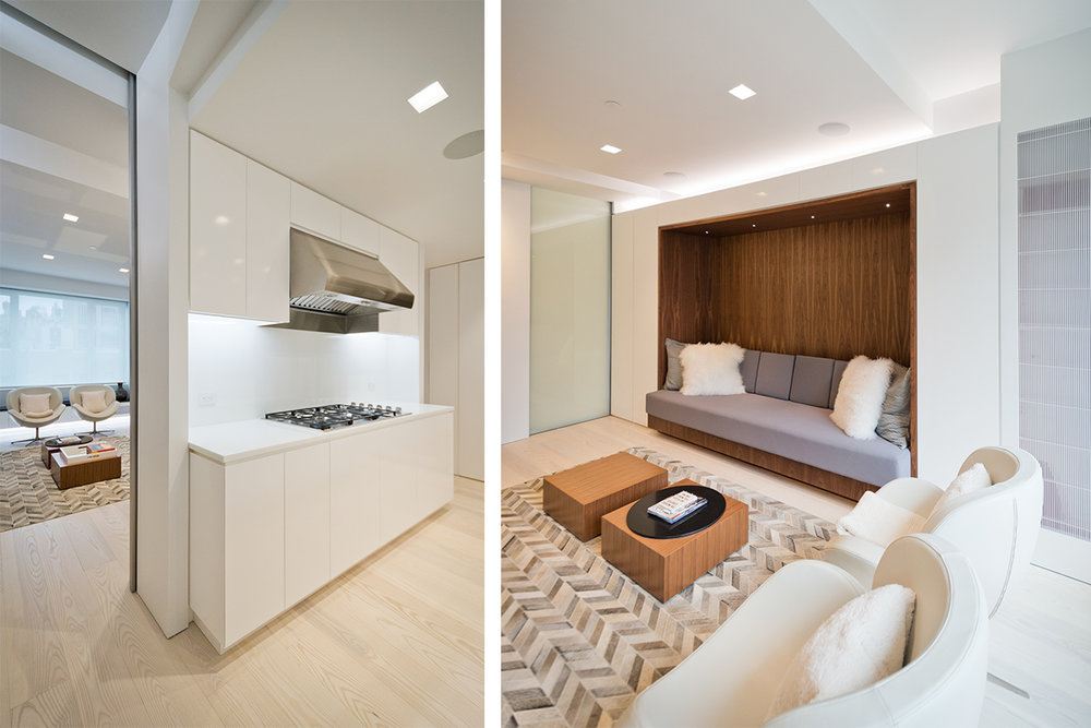 Modern New York City Lenox Hill Apartment Renovation | White Kitchen Custom Millwork Walnut Built In Sofa | RES4