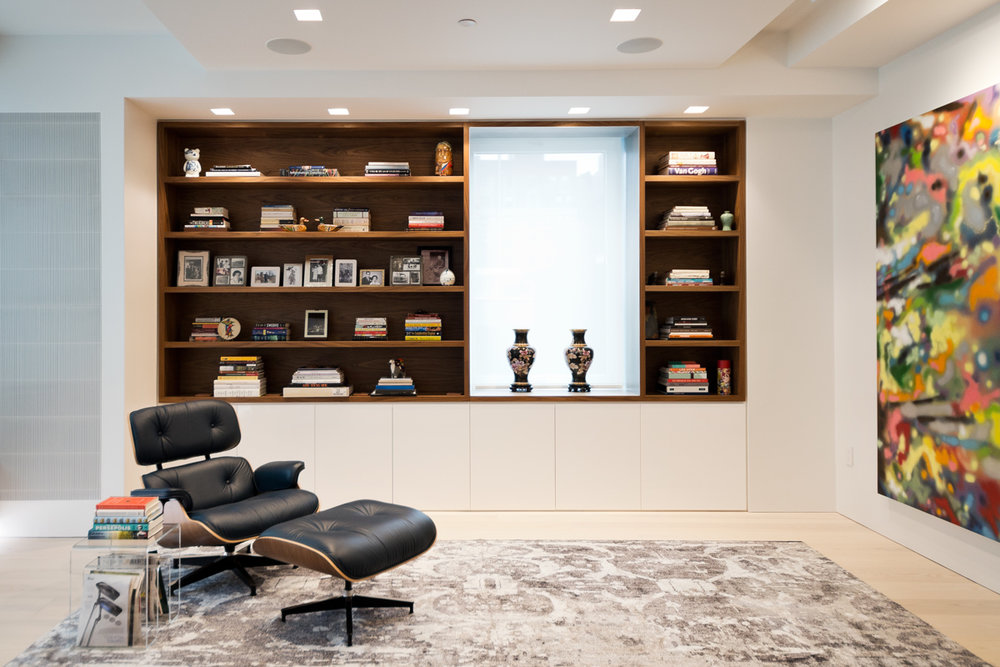 Modern New York City Lenox Hill Apartment Renovation | Custom Walnut Millwork Built In Shelves Living Room | RES4