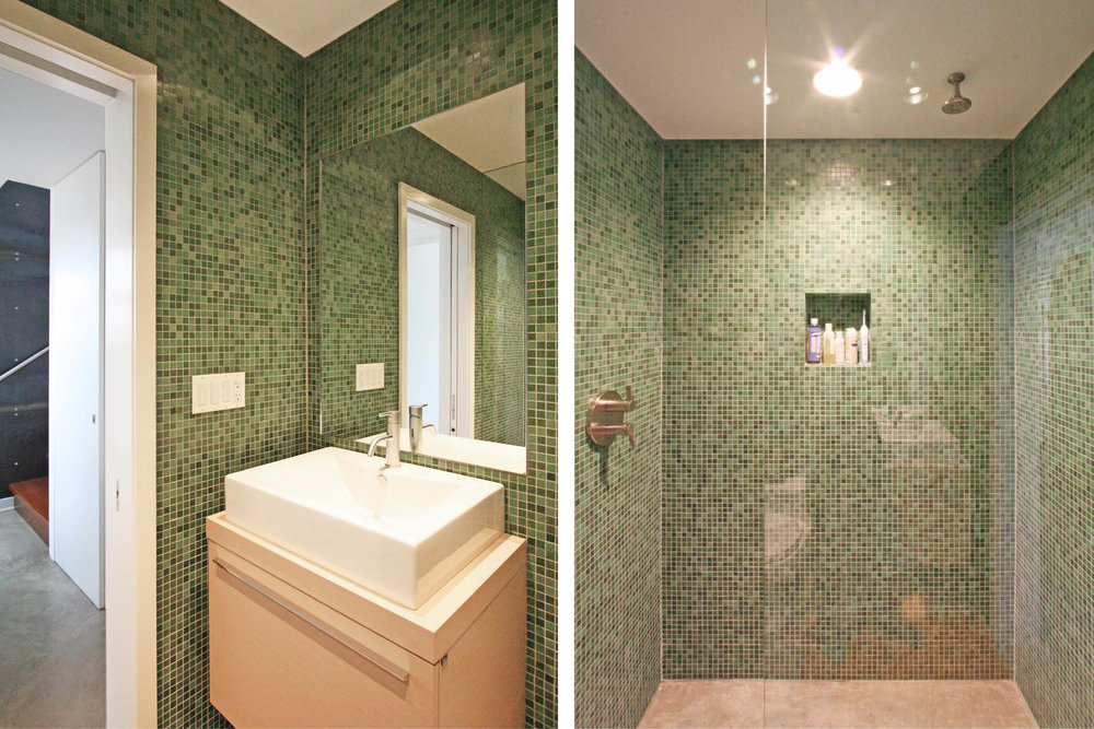 Modern Modular Prefab House Country Retreat | Bathroom Mosaic Tile Custom | RES4