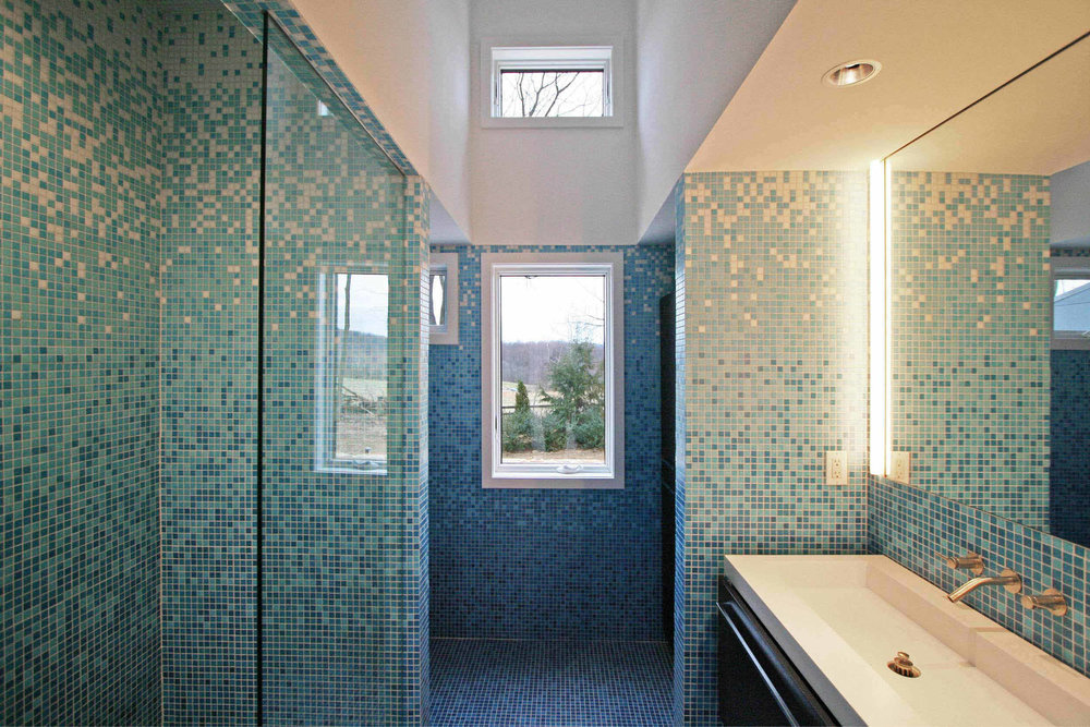 Modern Modular Prefab House Country Retreat | Master Bath Mosaic Tile Custom | RES4