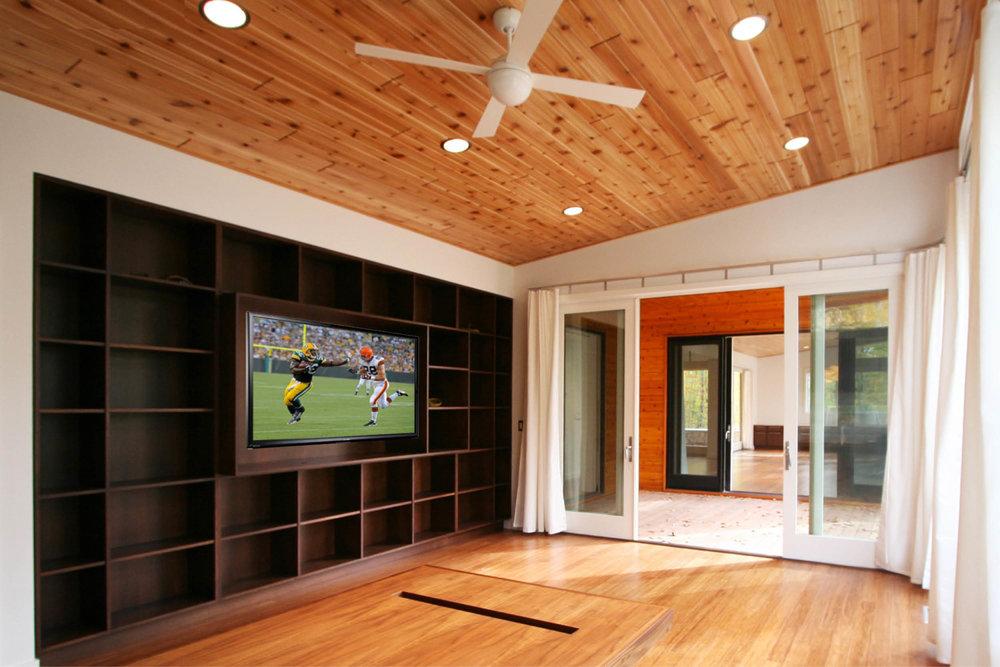 Modern Prefab Cabin House | Wisconsin | Cedar Ceiling Butterfly Roof Office Custom Millwork Shelving | RES4