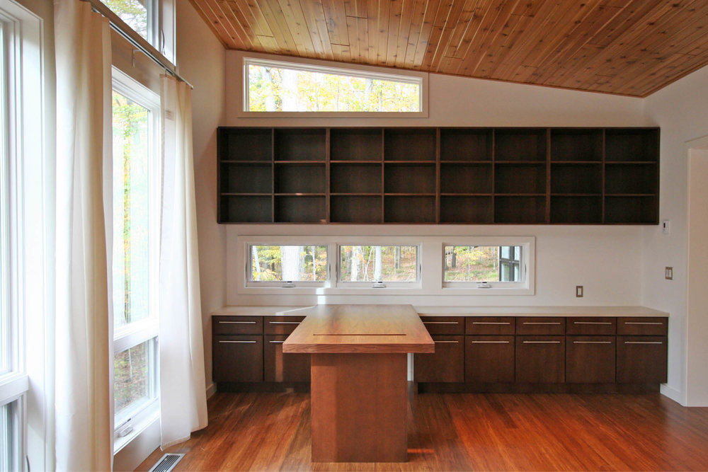 Modern Prefab Cabin House | Wisconsin | Cedar Ceiling Butterfly Roof Office Custom Millwork Desk | RES4