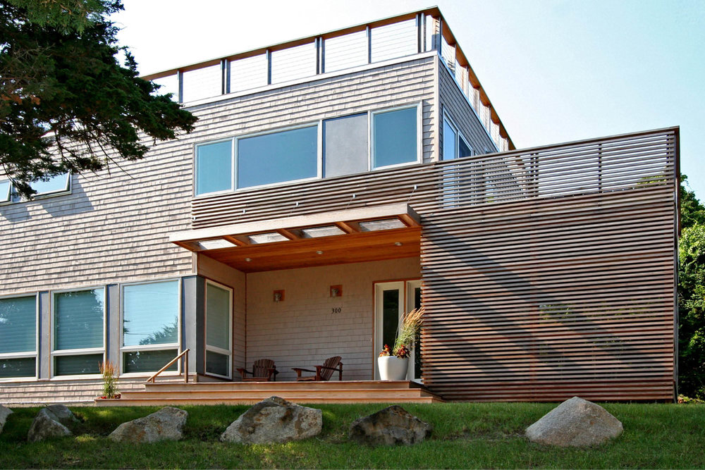 Modern Modular Prefab House | Cape Cod Eastham Massachusetts | Cedar Siding Front Porch Roof Deck Cable Rail | RES4
