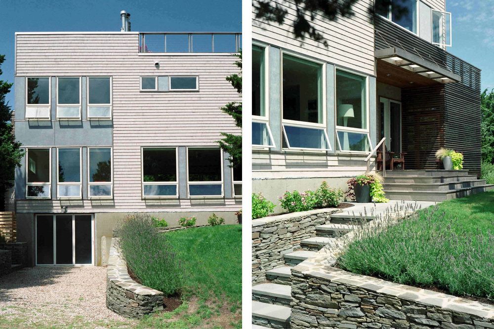 Modern Modular Prefab House | Cape Cod Eastham Massachusetts | Cedar Siding Stone Wall Roof Deck Cable Rail | RES4
