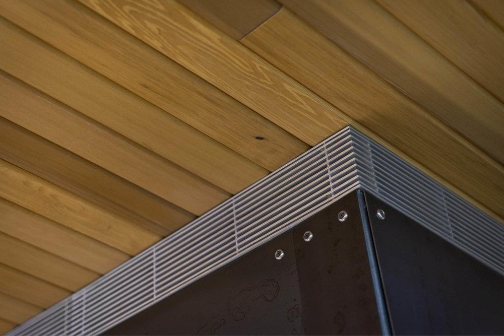 Modern Modular Prefab Cabin House | Greenbuild | Philadelphia | Fireplace Detail Black Steel Metal Grill Cedar Ceiling | RES4