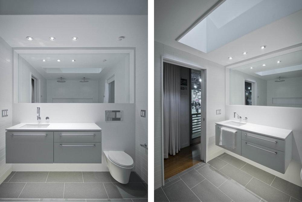 Modern Modular Prefab Cabin House | Greenbuild | Philadelphia | Bathroom White Skylight Custom Cabinet Vanity | RES4