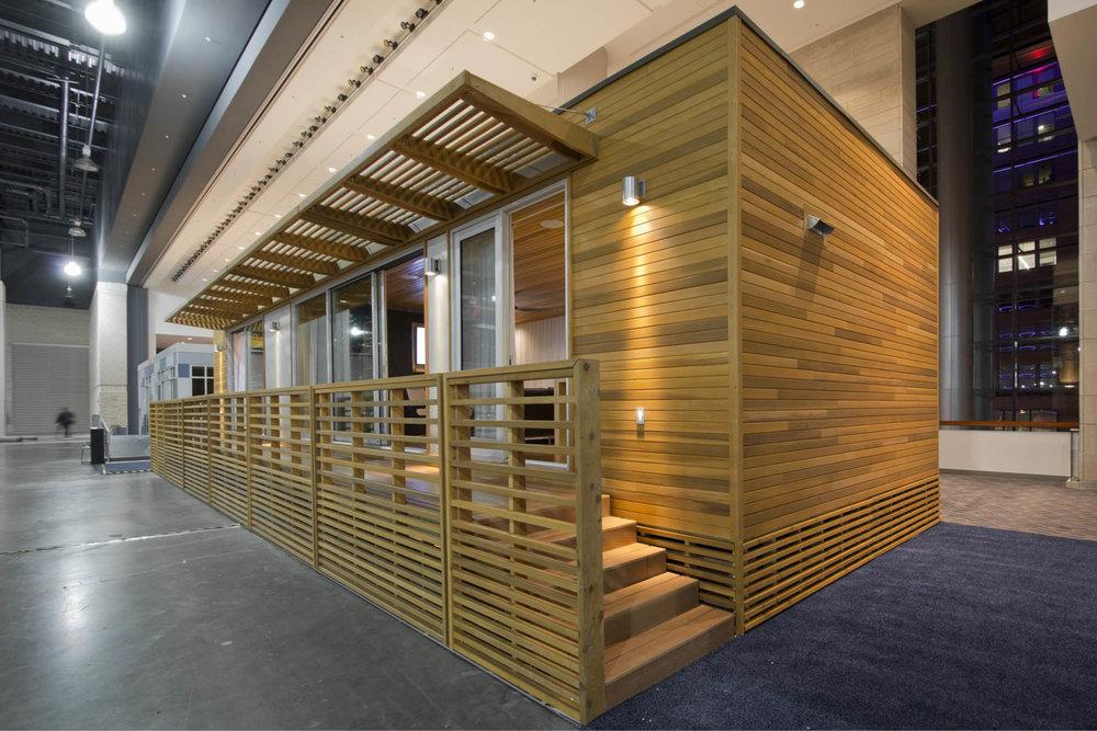 Modern Modular Prefab Cabin House | Greenbuild | Philadelphia | Cedar Siding Railing Deck Sliding Doors | RES4