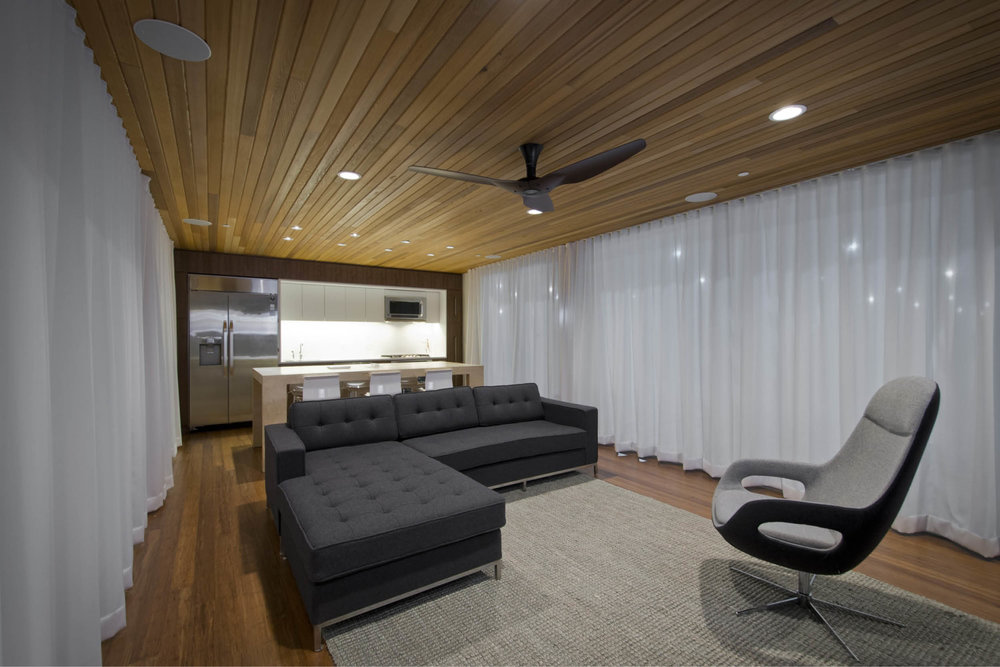 Modern Modular Prefab Cabin House | Greenbuild | Philadelphia | Living Room Cedar Ceiling Deck Sliding Doors | RES4