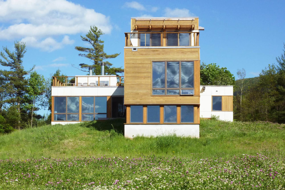 Modern Modular Prefab Meadow House | New York State | Cedar White Siding Large Windows Roof Decks Cable Rail | RES4
