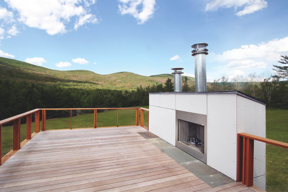 Modern Modular Prefab Meadow House | New York State | Roof Decks Ipe Fireplace White Siding Cedar Cable Rail | RES4
