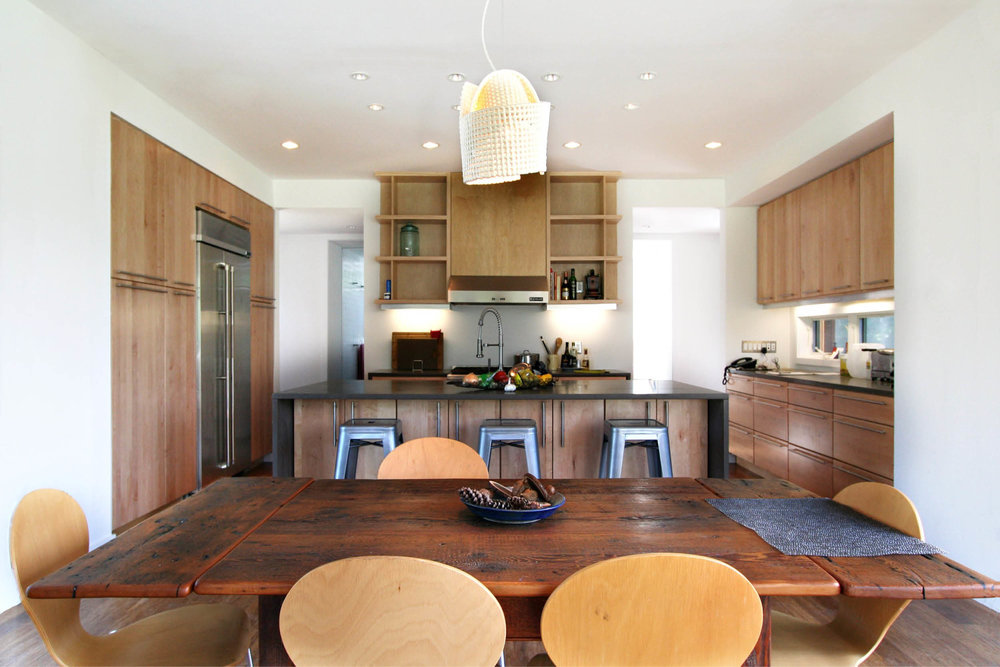 Modern Modular Prefab Meadow House | New York State | Dining Room Kitchen Custom Cabinets Island | RES4