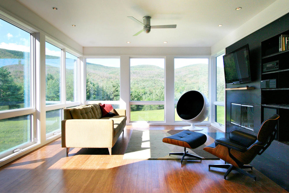 Modern Modular Prefab Meadow House | New York State | Living Room Fireplace Black Steel Large White Windows | RES4