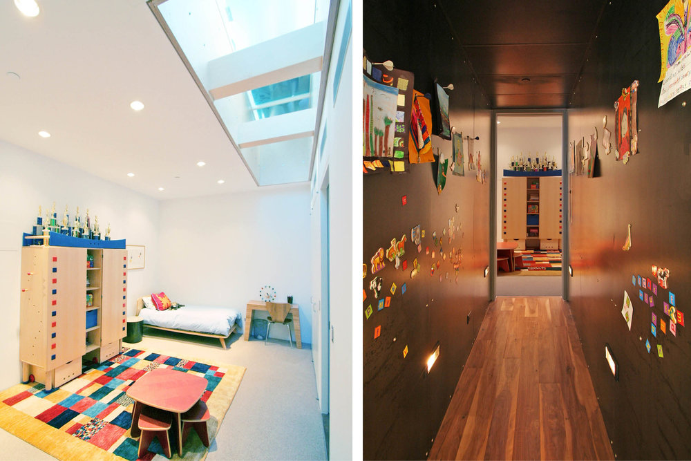 Loft Apartment Renovation | Union Square New York City 14th Street | Playroom Skylights Black Steel Wall Hallway Magnets Kids Artwork | RES4