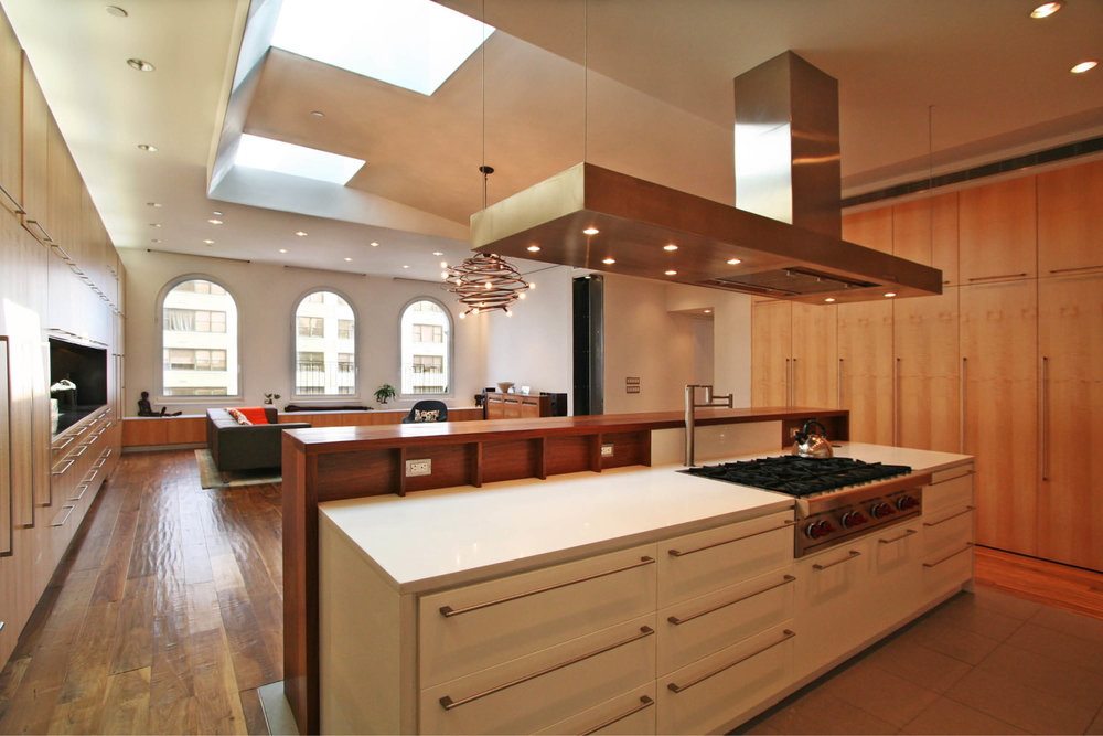 Loft Apartment Renovation | Union Square New York City 14th Street | Kitchen Built In Custom Cabinets Island Skylights | RES4