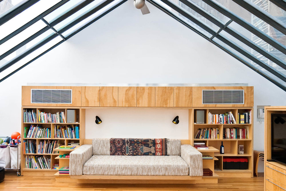 Loft Apartment Renovation | Union Square New York City 14th Street | Living Room Skylight Glass Roof Built In Sofa Shelves | RES4