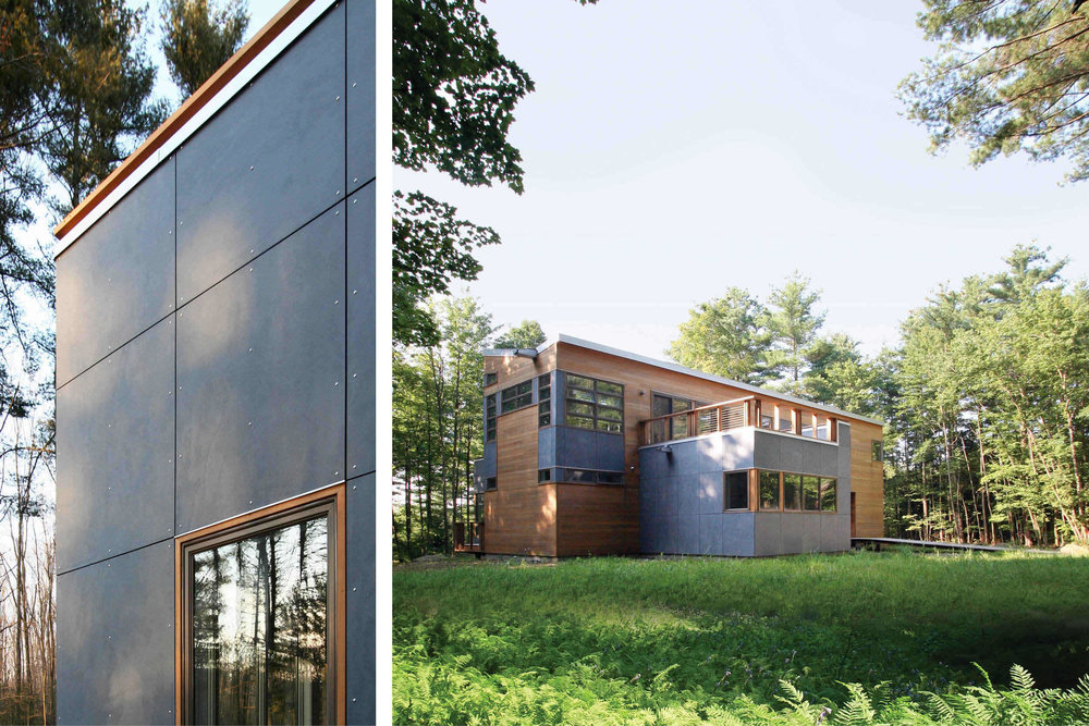 Modern Modular Prefab House | Berkshire Massachusetts | Butterfly Roof Cedar Siding Roof Decks Cable Rails | RES4