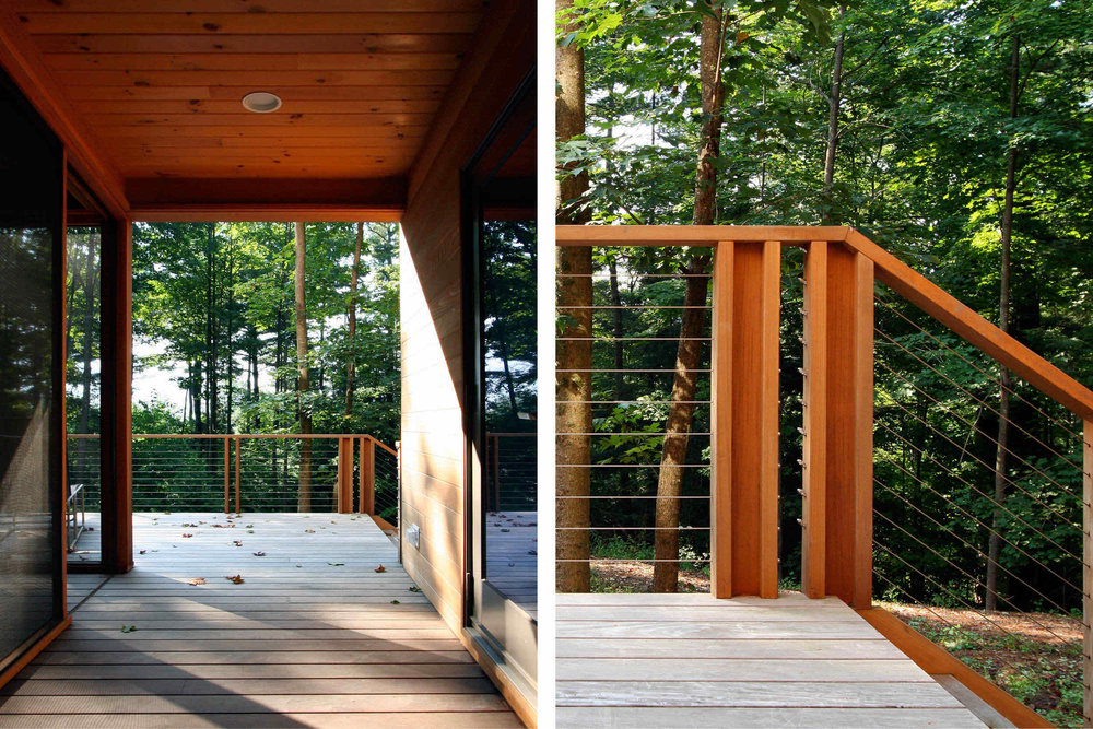 Modern Modular Prefab House | Berkshire Massachusetts | Covered Porch Cedar Ceiling Ipe Deck Cedar Cable Rail | RES4
