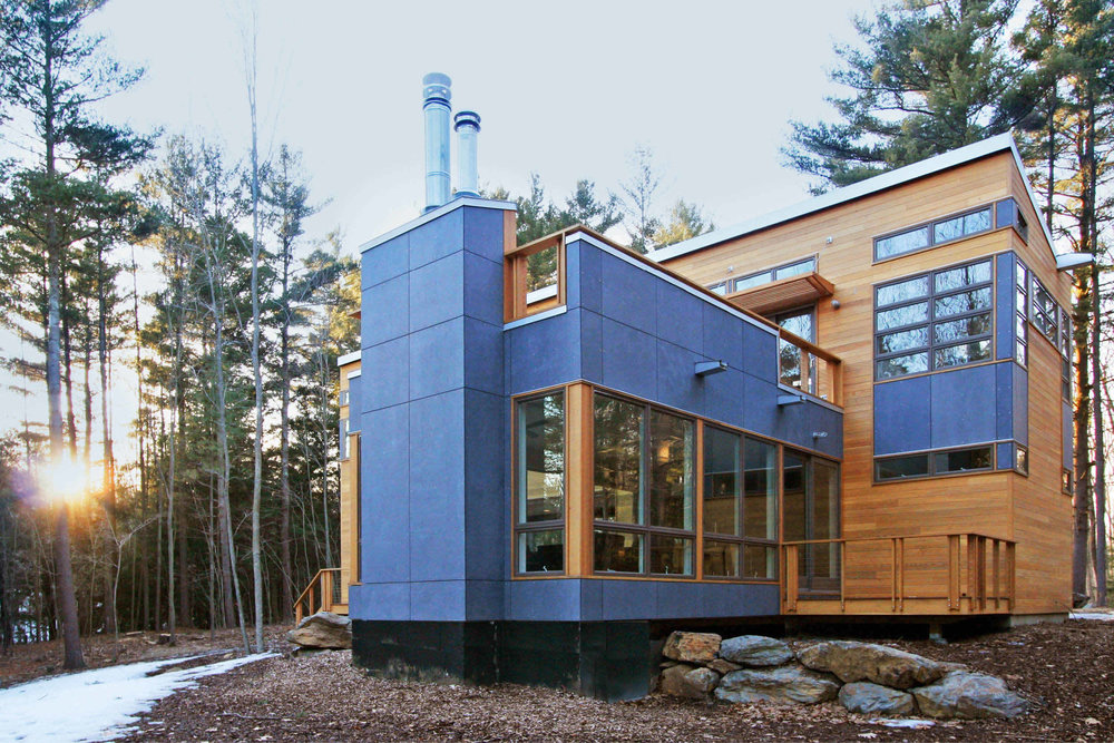 Modern Modular Prefab House | Berkshire Massachusetts | Butterfly Roof Cedar Siding Roof Decks Cable Rails Fireplace | RES4