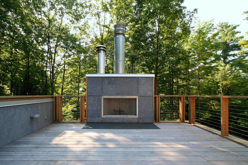 Modern Modular Prefab House | Berkshire Massachusetts | Roof Deck Fireplace Ipe Cedar Cable Rails | RES4
